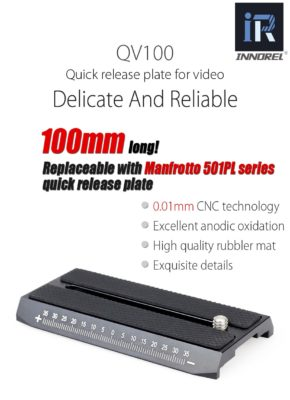 QV100 Sliding Quick Release Plate For video tripod monopod Compatible with Manfrotto 501PL high precision All CNC technology
