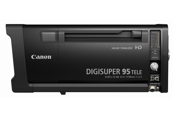 The new Canon DIGISUPER 95 TELE long-zoom HD field lens features the longest focal length1 and lightest weight1 in its class and outstanding optical performance, making it ideal for sports telecasts and other outdoor broadcasting applications